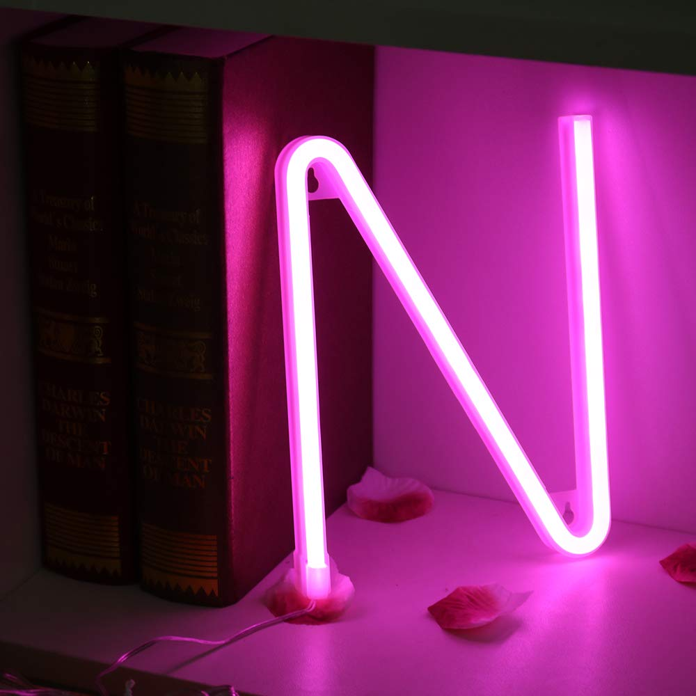 Light Up Letters for Wall Decor Living Room Wedding Party-Pink Letter L Neon Art Light Letters of The Alphabet Marry Me Decorations for Bedroom