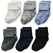Baby Boys Socks 6 Pack with Non-Slip Grippers Size 0-3 Months