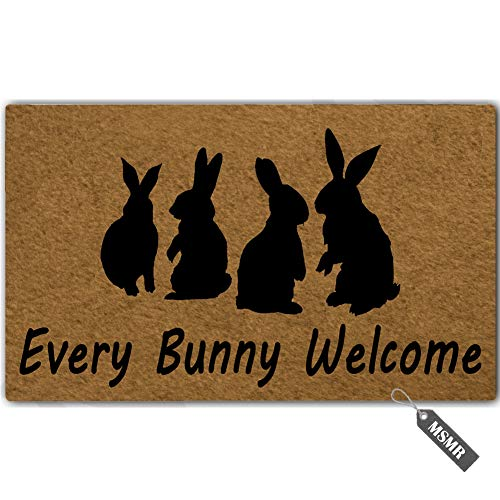 MsMr Entrance Floor Mat Funny Doormat Every Bunny Welcome Door Mat Outdoor Indoor Rubber Mat Machine Washable Non-Woven Fabric Top 23.6