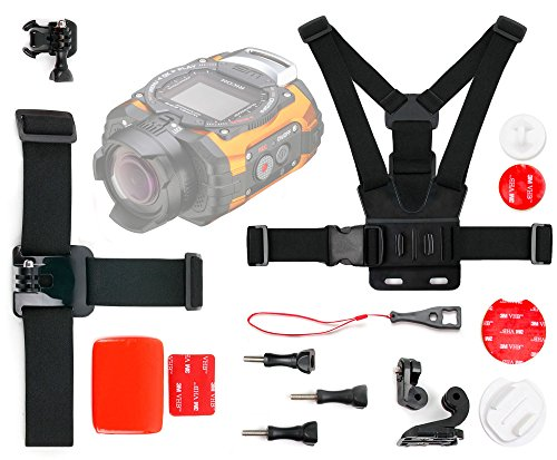 DURAGADGET Action Camera 17-in-1 Extreme Sports Accessories Bundle Compatible with The Ricoh WG-M1|WG-M2