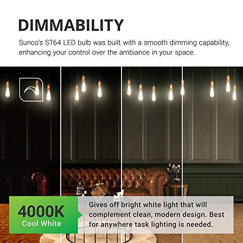 Sunco Lighting 2 Pack ST64 LED Bulb, Dimmable, Waterproof, 8.5W=60W, 4000K Cool White, Vintage Edison Filament Bulb, 800 LM, E26 Base, Restaurant or String Lights - UL