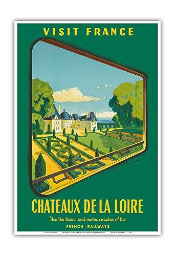 (France Loire Valley Castles (Châteaux De La Loire) - French Railways (SNCF) - Vintage Travel Poster by Jean Garcia c.1952 - Master Art Print 13in x 19in)