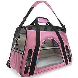Pet Carrier Soft Sided Large Cat Dog Comfort Rose Wine Pink Bag Travel Approved