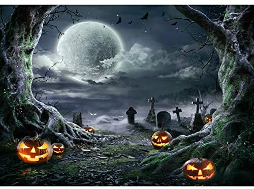 GoEoo 5x5ft Horror Pumpkin Head Jack Lantern Backdrops for Photography Mystery Halloween Party Moonlight Dark Evil Forest Photo Background All Hallows Decorations Wallpaper Poster