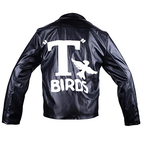 Grease T-Birds Jacket Men's Adult Kids 1950s Black Faux Leather Danny Costumes Rock Coat Adult Men, L ()