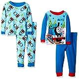 Nickelodeon Baby Boys' Thomas The Train 4-Piece Cotton Pajama Set, Winter Blue, 18M