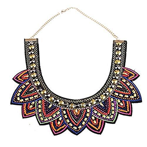 SUMAJU Collars Statement Necklace, Miraculous Garden Womens Vintage Fabric Colorful Bohemian Acrylic Beads Choker Necklace Jewelry
