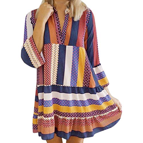 (VICCKI Fashion Women's Summer Casual Ethnic Style Stripe Full Sleeve Stand Beach Dress)