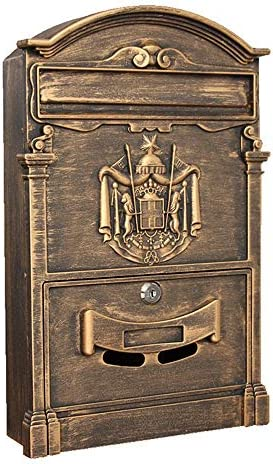 ウォールマウントロック可能なメールボックスの近代屋外亜鉛メッキメタルキー大容量商業農村ホーム装飾 ポストボックス (Color : Vintage, Size : 41x26x9cm)