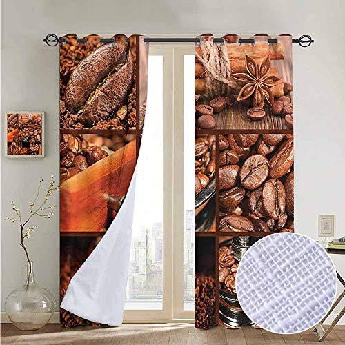 NUOMANAN Window Curtains Brown,Antique Grinder Coffee Beans,Tie Up Window Drapes Living Room 52