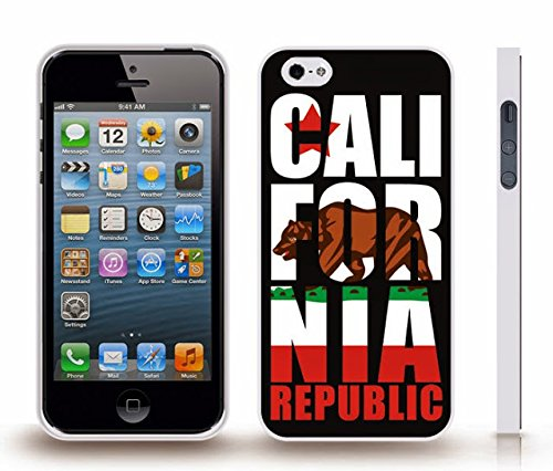 iStar Cases® iPhone 4 Case with California State Flag, w/ Large Golden State Bear, Republic Text and Star , Snap-on Cover, Hard Carrying Case (White)
