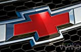 """VVIVID Red Gloss Auto Emblem Vinyl Wrap Overlay Cut-Your-Own Decal for Chevy Bowtie Grill, Rear Logo DIY Easy to Install 11.80"""" x 4"""" Sheets (x2)"""