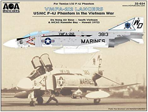 AOA Decals AOA32034 1:32 USMC F-4J ファントム II ベトナム戦争中 - VMFA-212 ランサー [ウォータースライドデカールシート]