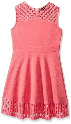 (ZUNIE Girls' Big Sleeveless Textured Knit Skater Dress, Bright Pink, 14/16)