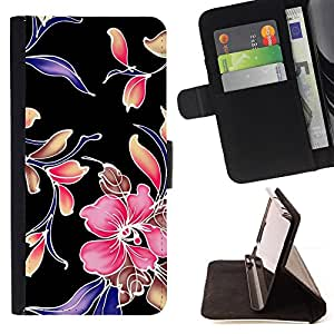 DEVIL CASE - FOR HTC One M7 - Retro Fabric Wallpaper Rustic Pattern Floral - Style PU Leather Case Wallet Flip Stand Flap Closure Cover