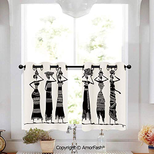 PUTIEN African Woman Printed Tier Curtains for Kitchen Pattern Short Window Curtains,2 Panels,W52 x L18-Inch,Sketch of Local Women with Jugs Silhouettes Tribal Patterned Dresses Decorative