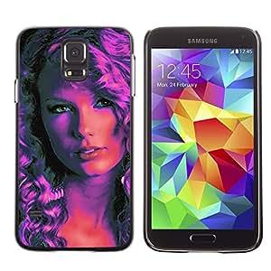 GIFT CHOICE / SmartPhone Carcasa Teléfono móvil Funda de protección Duro Caso Case para Samsung Galaxy S5 /Pop Art Woman - Pink Neon/