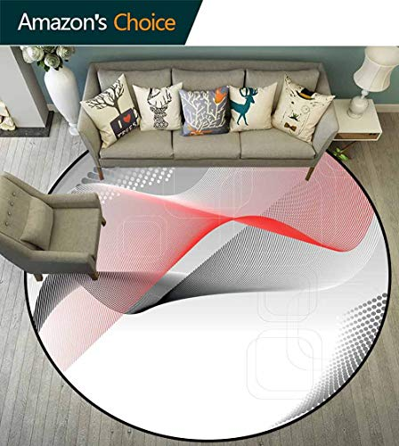 Abstract Round Rug Girls,Modern Digital Composition with Geometric Elements Squares Dots Curves Waves Environmental Protection Fabric,Red Grey Black,D-70 ()