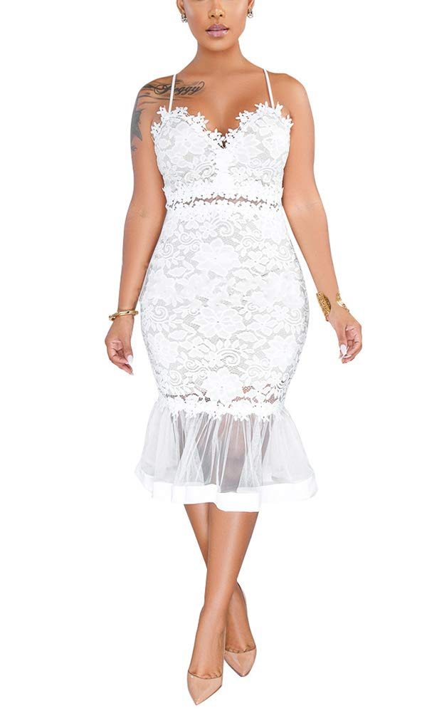 Women Sexy Floral Lace Dress Mesh Sheer Deep V Neck Spaghetti Strap Prom Gowns Bodycon Mermaid Midi Dress White by Salimdy