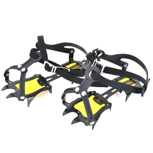 Meanhoo Antiskid Steel-point Ice Climbing Hiking Plates Crampon Traction Device Strap Type Crampons Ski Belt High Altitude Hiking Slip-resistant 10 Teeth Mountaineering 250x95x3mm M (black) by Meanhoo