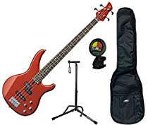 Yamaha TRBX204BRM Bright Red Metallic 4-String Bass Guitar w/ Gig Bag, Stand, and Tuner