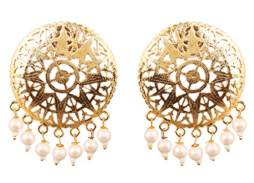 Touchstone Indian Bollywood Pretty Embossing Work Light Weight Traditional White Pearls Bunches Designer Jewelry Earrings For Women In Gold Tone