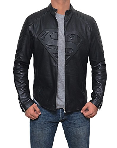 Mens Black Superman Leather Slim Fit Jacket (Superman Jacket, XL) by Decrum (Image #2)'