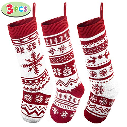 "JOYIN 3 Pack 18"" Knit Christmas Stockings, Large Rustic Yarn Xmas Stockings for Family Holiday Decorations"