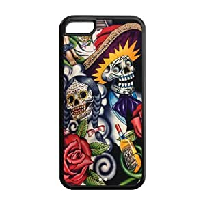 Sugar Skull Day of the Dead Hard Rubber Cell Cover Case for iPhone 5C,5C Phone Cases