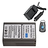 Amsahr S-BLM1 Digital Replacement Battery Plus Travel Charger for Olympus BLM-1, CAMEDIA - Includes Lens Accessories Pouch (Gray)