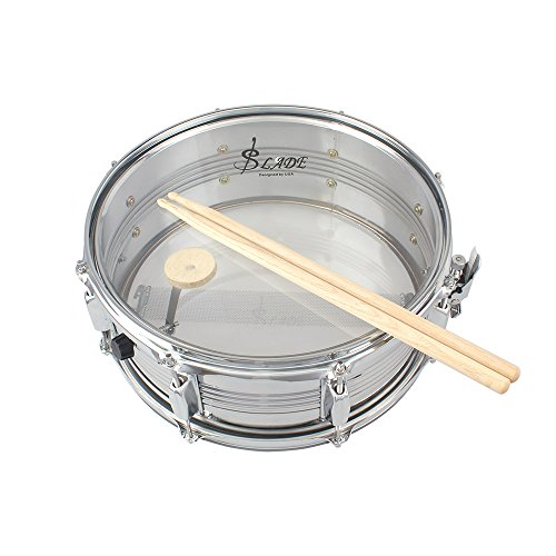 ammoon 14in Snare Drum Stainless Steel Drum Body Transparent PVC Drumhead with Case Sticks Gloves Shoulder Strap for Student Professional Drummer by ammoon