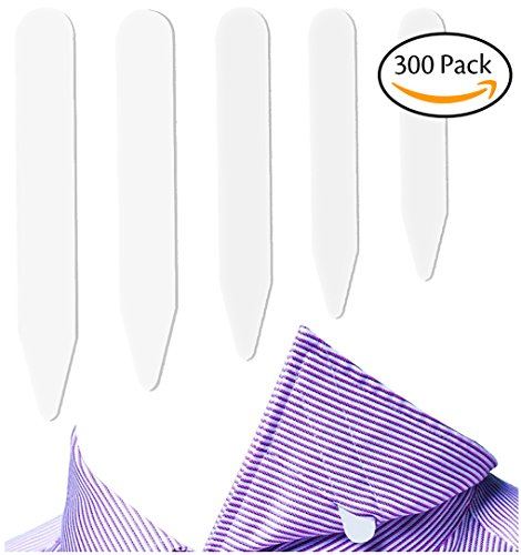 Fasker 300 Pcs Collar Stays Plastic Collar Stay Bones for Men's Shirt - White, 5 Sizes (Tab Tear Plastic)