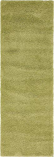 Unique Loom Solo Collection Solid Plush Kids Light Green Runner Rug (2' 2 x 6' 7) - Olive Green Runner Rug