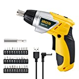 #9: URCERI SND133 Electric Screwdriver 2000mAh Li-Ion Rechargeable Cordless Screw Gun with 6+1 Torque USB Charging Cable 30pcs Driver Bits LED Light, Yellow