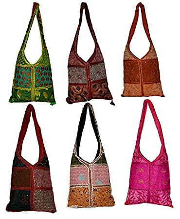 736dc1de65b Amazon.com   10 Big Jhola Bags Patchwork Hand Made Long Purse Gypsy India Wholesale  Lot   Baby