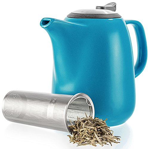 Tealyra - Daze Ceramic Large Teapot Blue - 47-ounce (6-7 cups) - With Stainless Steel Lid Extra-Fine Infuser for Loose Leaf Tea - 1400ml