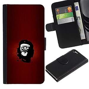MobileTech / Apple Iphone 5 / 5S / Rebel Che Troll Face - Funny Lol Meme / Cuero PU Delgado caso Billetera cubierta Shell Armor Funda Case Cover Wallet Credit Card