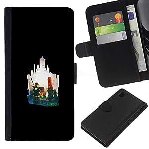 LECELL--Cuero de la tarjeta la carpeta del tirón Smartphone Slots Protección Holder For Sony Xperia Z1 L39 -- Silueta de la ciudad --