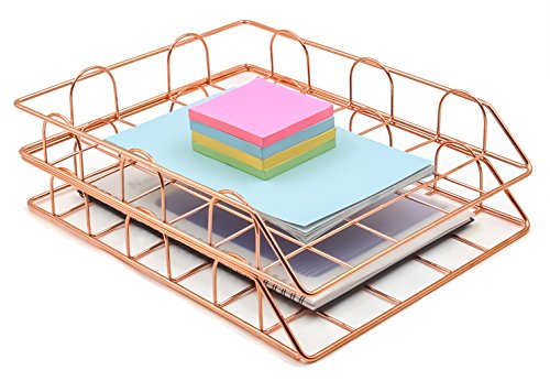 (Superbpag Set of 2 Office Supplies Metal Stackable File Document Letter Tray Organizer, Rose Gold)