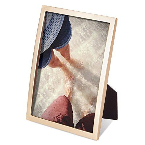 (Umbra Senza Metal Picture Frame, Unique 5 x 7 Photo Display, Matte Brass)