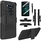LG V10 Case, Combo Rugged Shell Cover Holster with Built-in Kickstand and Holster Locking Belt Clip + Circle(TM) Stylus Touch Screen Pen And Screen Protector Black