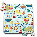 Anne Marie Baugh - Patterns - Cute Kids Ships and Sea Life Pattern - 10x10 Inch Puzzle (pzl_265023_2)