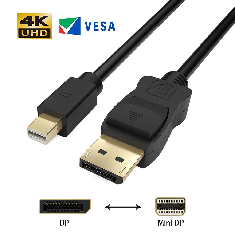 Ulinek Mini DisplayPort to DisplayPort Cable, Gold Plated High Speed Thunderbolt 2 to DisplayPort (Mini DP to DP) Cable 2m 4K@144Hz Resolution Ready - Black mini-DP-0806