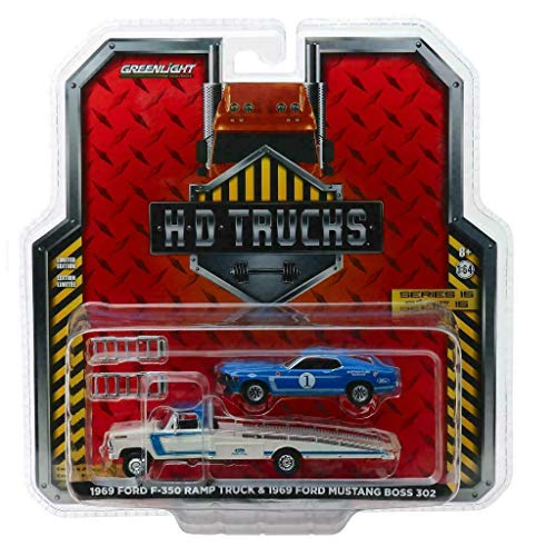 DIECAST 1:64 HD Trucks Series 15-1969 Ford F-350 RAMP Truck - Ford Performance with 1969 Ford Mustang BOSS 302#1 Mustang Clubs Racing Team (Blue/White) 33150-A by Greenlight