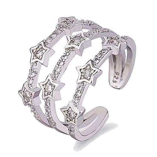 (Appoi Jewelry Boho Ring Set Vintage Adjustable Silver Crown White Diamond Star Ring Silver Joint Knuckle Rings (Silver, Adjustable))