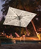 """""""Jardin du Sud"""" 9 Feet Rectangular Solar Powered LED Lighted Patio Umbrella with 24 LED Lights, Tilt and Crank, 220 GSM Fade Resistant Canopy – Bring Shade and Style to your Yard"""