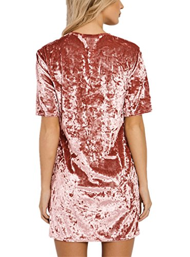 HIKARE Women s Vintage Velvet Short Sleeve Casual Mini T Shirt Dress Pink  Size S 38ab29d97