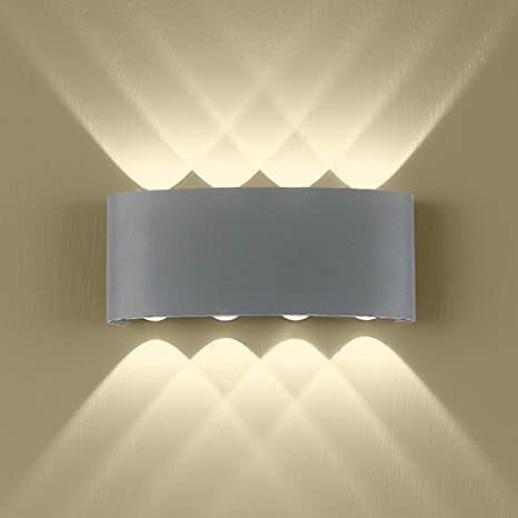 Amazon Com Outdoor Wall Light Modern Gray Led Wall Light 8 Leds Arc Up Down Wall Lamp 16w Aluminium Wall Lamp For Living Room Garage Waterproof Outside Wall Lights 3000k Wall Sconce For