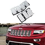 Danti Latest Honeycomb Matte Mesh Front Grill Grille Inserts Cover Kit 7 pc for Jeep Grand Cherokee 2014 2015 2016 (Silver)