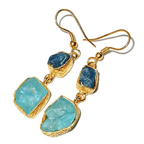 Apatite Chalcedony Earrings - Sitara Collections SC10319 Gold-Plated Rough Gemstone Earrings, Apatite and Aqua